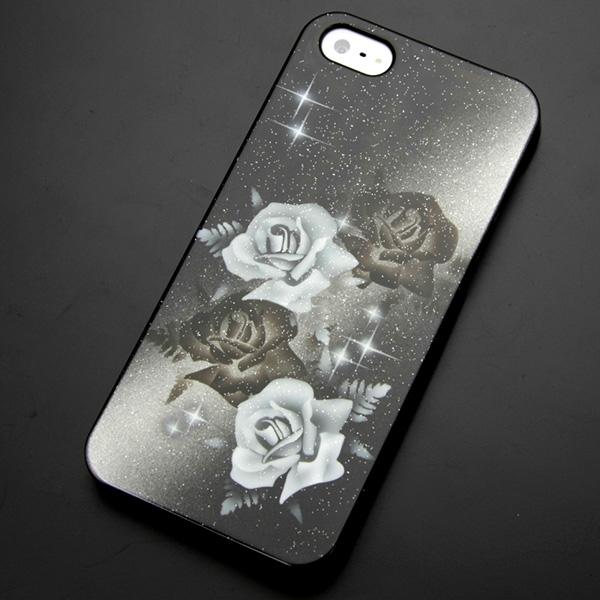 エアーブラシ ケース iPhone5 / iPhone5s 共用 (docomo/au/SoftBank)第一節魅惑 (明暗のバラ) デザイン系カバーの最高峰 エアーブラシで作成 【送料無料】 (IPHONE5/アイフォンを傷・汚れから守るオシャレなカバー )【P06Dec14】