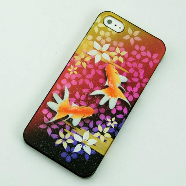 エアーブラシ ケース iPhone5 / iPhone5s 共用 (docomo/au/SoftBank)第一節魅惑 (華を纏う金魚)デザイン系カバーの最高峰 エアーブラシで作成【送料無料】(アイフォン/IPHONE5/IPHONE5S/スマホ/ケース/カバー)【P06Dec14】