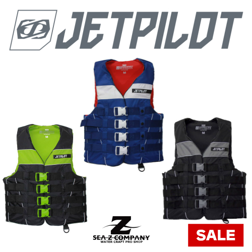 【SALE】【JETPILOT】STRIKE 4BUCKLE NYLON VEST・ライフジャケット・ナイロンベスト S・M・L・XL ブラックグリーン・ブラックシルバー・ミッドナイトホワイト JP8301J