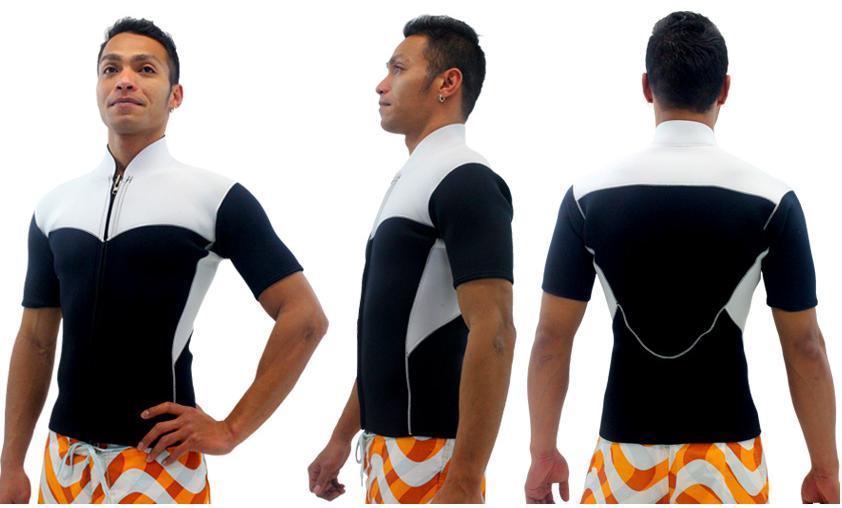 ハーフタッパー フロントジップ素材 エアーネッスルスポーツタイプ メンズ選べるカラー 生地 厚さ 2mm 3mm ウェットスーツ ジャケット ジャージ 男性用 サーフィン ポイントカラー 1色無料
