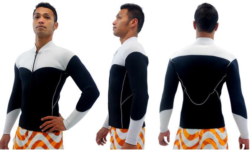 メンズ スポーツタイプ 3(ボディ)×3(袖)mm ロングタッパー フロントジップ 素材 : エアーカラットポイントカラー1色無料