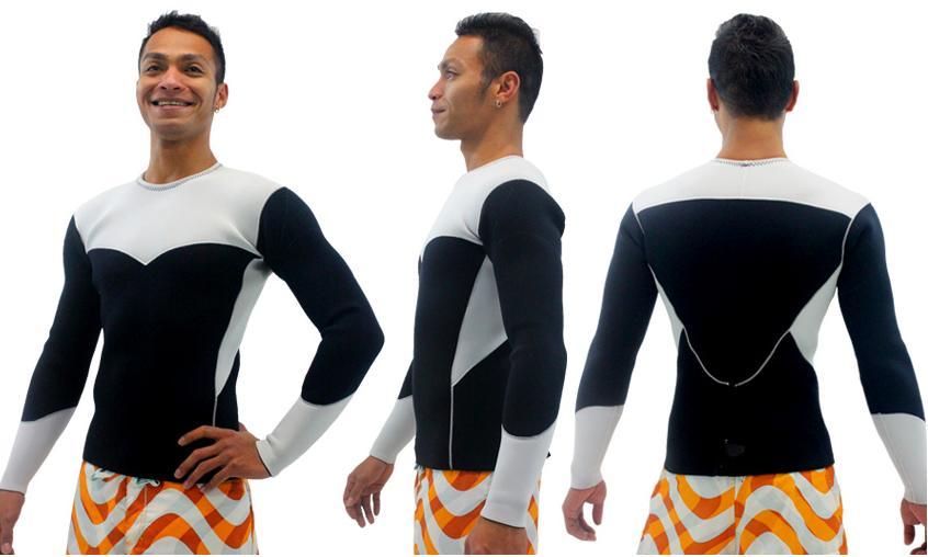 メンズ スポーツタイプ  3(ボディ)×2(袖)mm ロングタッパー バックジップ 素材 : エアーカラットポイントカラー1色無料