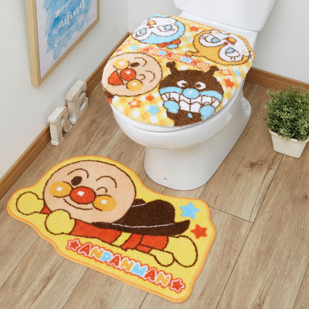 お子様も大喜び トイレトレーニングにもぴったり アンパンマン トイレ2点セット トイレタリー 特売 トイレフタカバー トイレマット マット ウォシュレット トイレカバー グッズ それいけ キャラクター 安全 温水洗浄便座用 TO-35-A