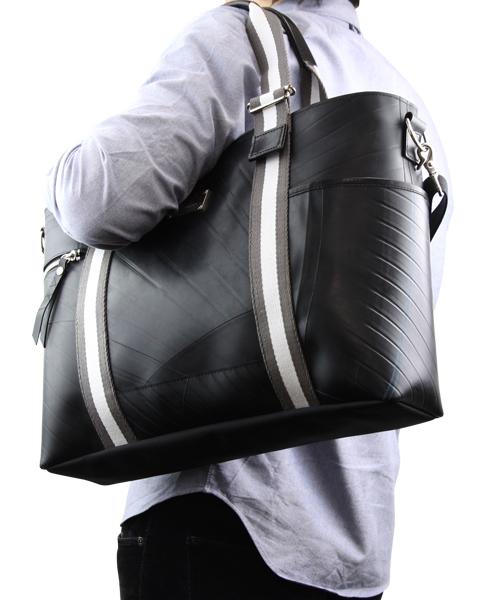 【先着イベント開催中!】 ストライプ トートバッグ メンズ SEAL シール ビジネスバッグ トートバッグ ファスナー付き A4 大きめ 防水 廃タイヤ 人気 日本製 黒 プレゼント