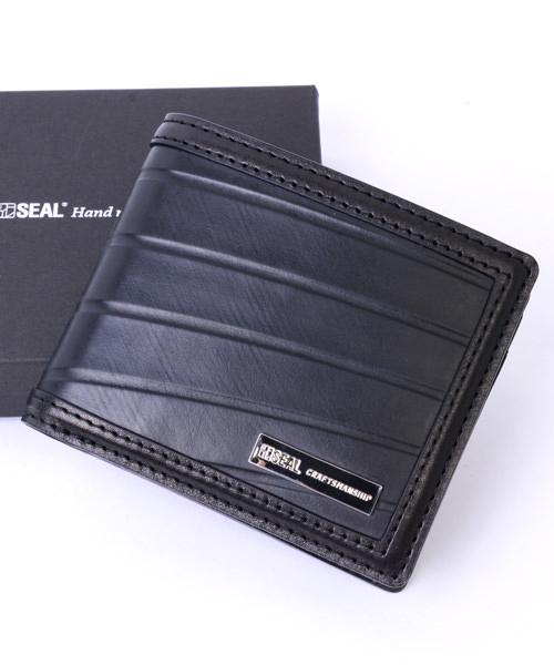【P10倍 4/5 0:00 - 4/5 23:59】 二つ折り財布 メンズ SEAL シール 財布 本革 二つ折り財布 防水 廃タイヤ タイヤチューブ 人気 日本製 黒 プレゼント