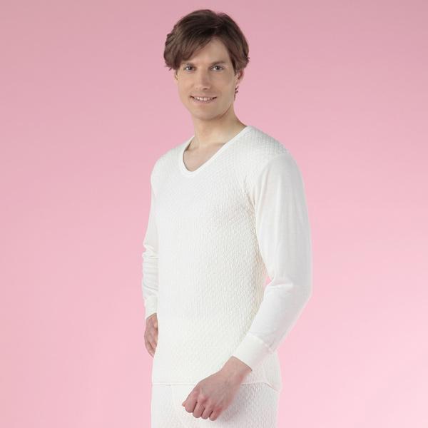 【あす楽】【送料無料】ひだまり健康肌着 ひだまり極きわみ 紳士長袖U首シャツ WHオフホワイト/LLサイズ kc-akw903