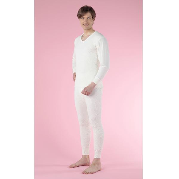 【あす楽】【送料無料】ひだまり健康肌着 ひだまり極きわみ 紳士長袖U首シャツ+ズボン下セット オフホワイト/LL kc-akw903akw953