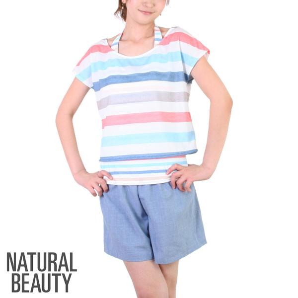 【あす楽】NATURAL BEAUTY(ナチュラルビューティー)カラフルボーダー・4点セット(レディース水着)301030