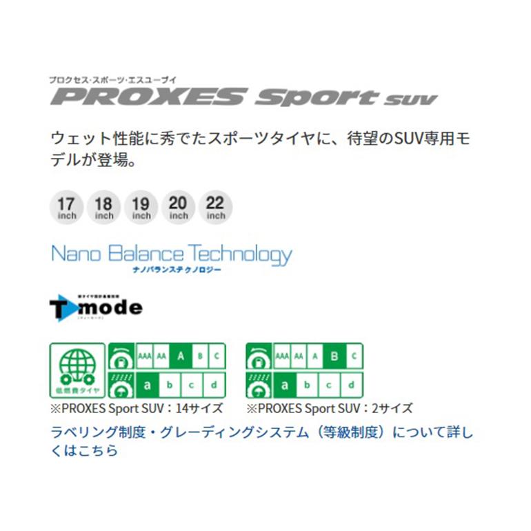 トーヨータイヤプロクセススポーツSUV1本215/65-17215/65R1717インチサマータイヤ
