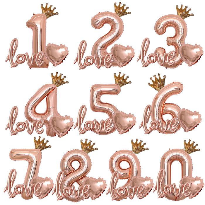 ローズゴールドの大きな数字バルーンに 王冠バルーンとloveバルーンが付いた飾りセットです バースデーパーティーはもちろん写真撮影にも アレンジも楽しめます トレンド 数字 バルーン 誕生日 飾り付け ローズゴールド 1歳 2歳 3歳 4歳 5歳 6歳 7歳 75cm ピンクゴールド セット 9歳 8歳 数字バルーン 風船 メール便 大きい 税込 ピンク deerzon 女の子 年齢 王冠 バースデー