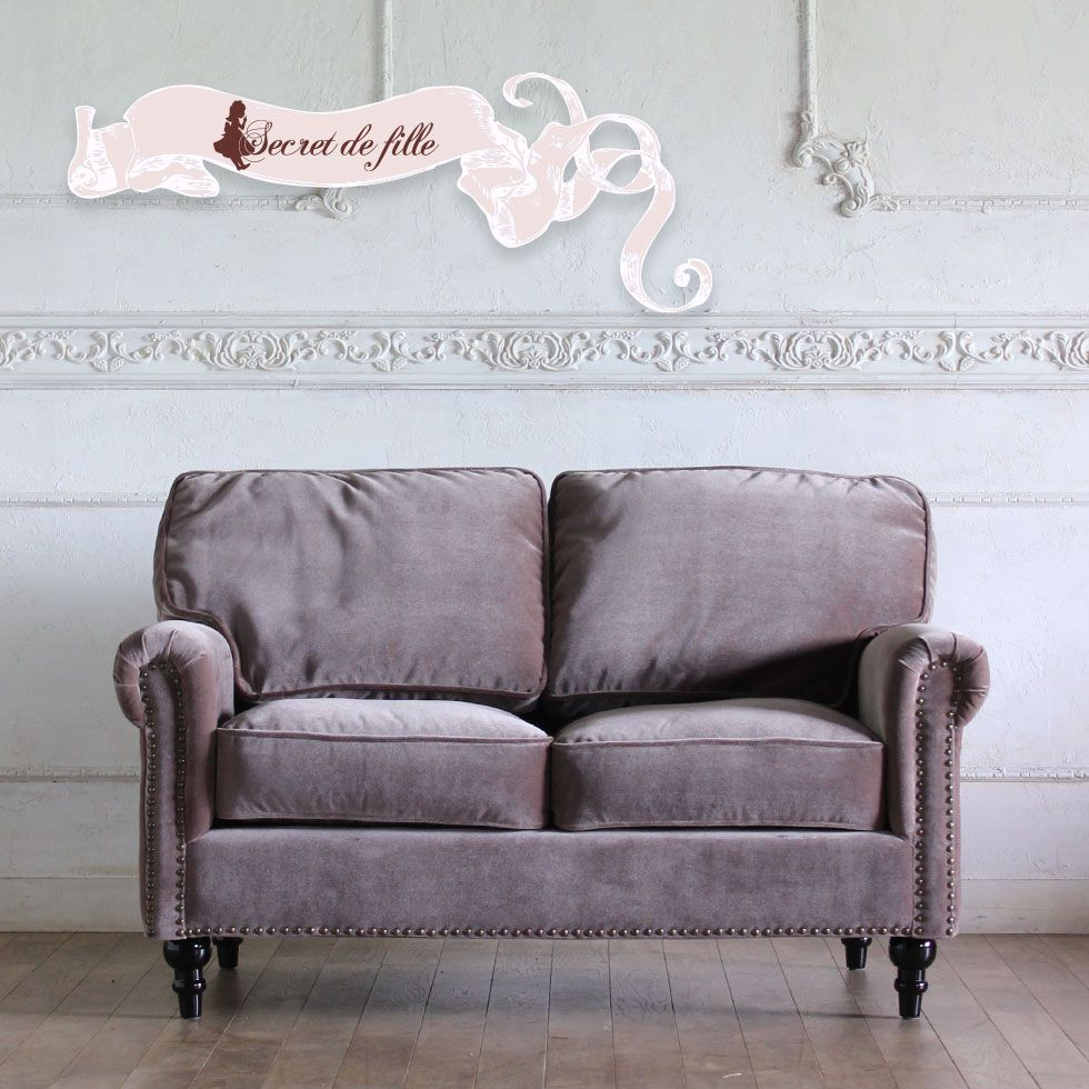 ソファ ソファー グレー ビンテージ 2人 2人がけ 2人掛け 二人 二人がけ 二人掛け フレンチ アンティーク アンティーク風 アンティーク調 姫 姫系 姫 家具