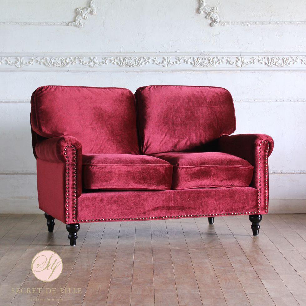 ソファ ソファー レッド 赤 ビンテージ 2人 2人がけ 2人掛け 二人 二人がけ 二人掛け フレンチ アンティーク アンティーク風 アンティーク調 姫 姫系 姫 家具