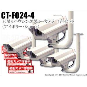LEDダミーカメラ (ステッカー付/アイボリー) 送料無料 4台セット