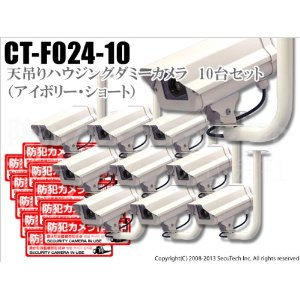 LEDダミーカメラ (ステッカー付/アイボリー) 送料無料 10台セット