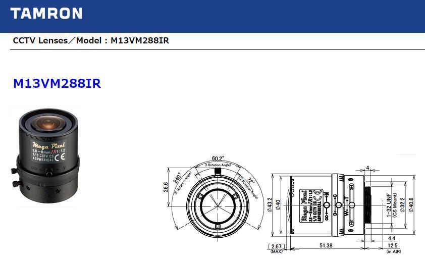 M13VM288IR タムロンレンズ 可視光撮影時から近赤外撮影時まで、3メガピクセル/フルHD1080p以上を実現 メガピクセル・IR対応 1/3型 バリフォーカルレンズ 2.8-8mm F/1.2 tamron