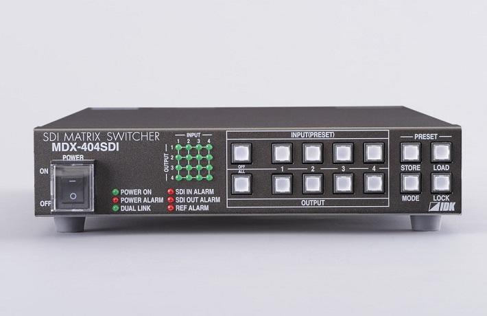 MDX-404SDI SDIマトリクススイッチャ 入力4系統・出力4系統の3G-SDI、HD-SDI、SD-SDIおよびDVB-ASI対応マトリクススイッチャです。