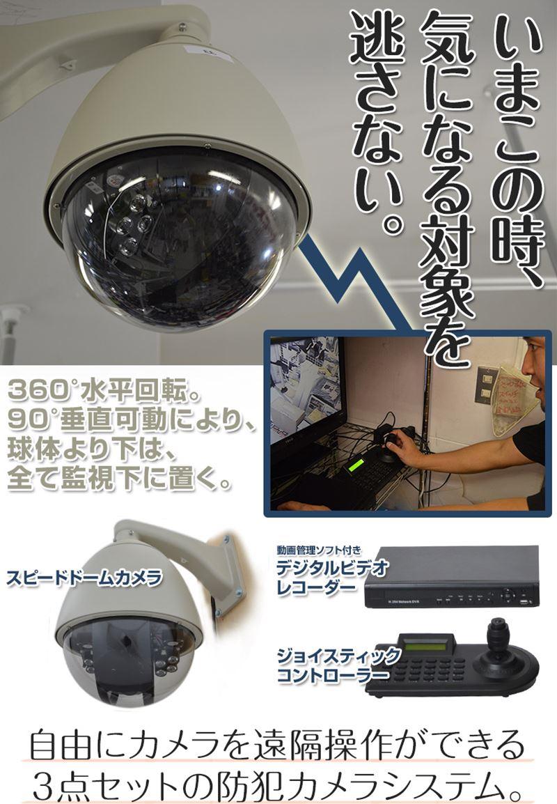 スピードドームカメラ1台 ジョイスティック1台 レコーダー録画機1台 3点セット 【SAN-STSPDM54】 保証1年