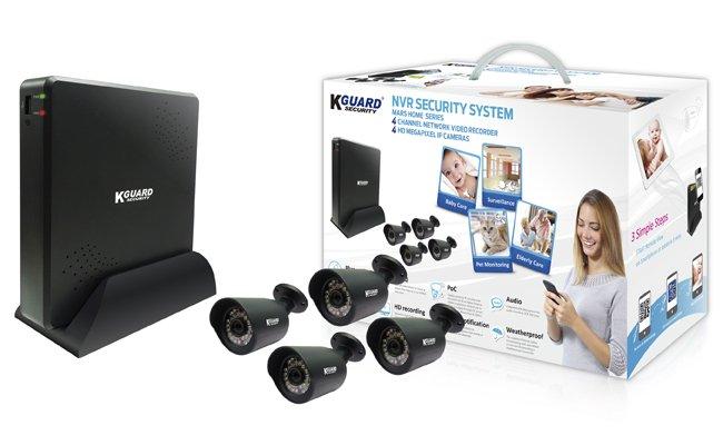 空き巣対策 Kguard SECURITY IPカメラセット QRコード&クラウド対応 映像圧縮H.264圧縮 4cHDVR+カメラ4台 Kguard 簡単設置 防犯カメラセット 防犯カメラ 録画 監視カメラ IPカメラ ケーガード MH-4140