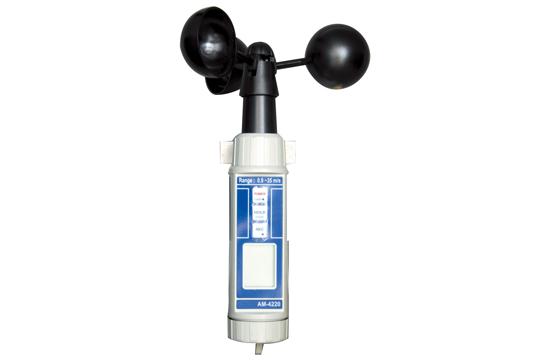 AM-4220 デジタル風速計(風杯式) 野外の風速測定に 高信頼性のある風杯式風速計 IP防水・防塵タイプ 最大/最小値データホールド機能付 100ポイントメモリー機能付