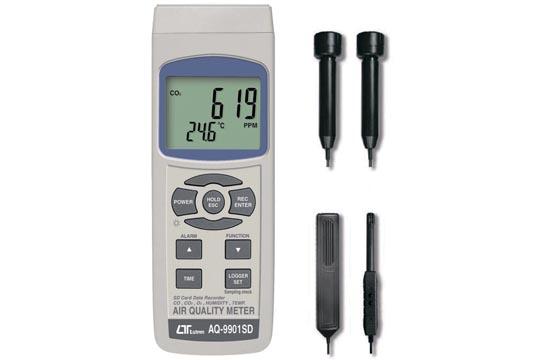 AQ-9901SD アラーム設定機能 1台でO2・CO・CO2・温度・湿度を測定するマルチ空気質チェッカー データホールド・MAX/MIN値表示機能 マザーツール社製品
