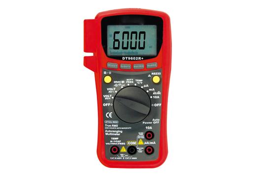 DT9602R+ PC対応デジタルマルチメータ 真の実効値測定(AC+DC) 多機能6000カウントバーグラフ付 温度レンジ付 電圧・電流レンジにMAX/MIN機能 RS232C通信機能搭載(パソコンキット標準装備) 暗所で測定に便利なバックライト付