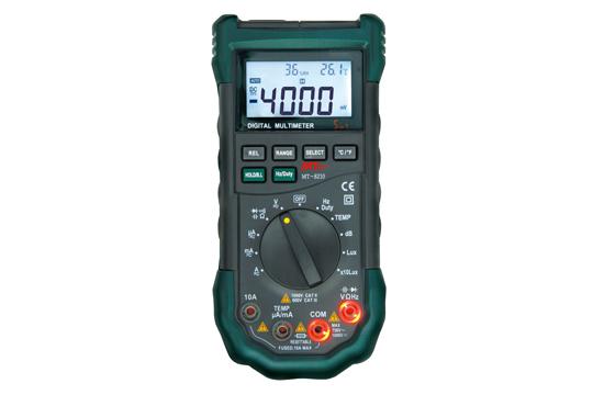 MT-8210 1台5役(DMM・温度計・湿度計・照度計・騒音計) ●LEDとブザーで知らせる誤挿入防止機能 ●バックライト付で暗所での測定が容易 ●オートパワーオフ機能 ●オートレンジ・データホールド機能