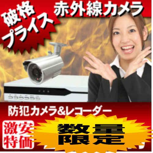 防犯カメラセット 監視カメラセット WTW-DV944-500GB WTW-R26F SET 激安防犯カメラとDVRレコーダーフルセット カメラ1台標準装備 防犯カメラ最大4台 iPhone携帯での遠隔監視可能 DVR