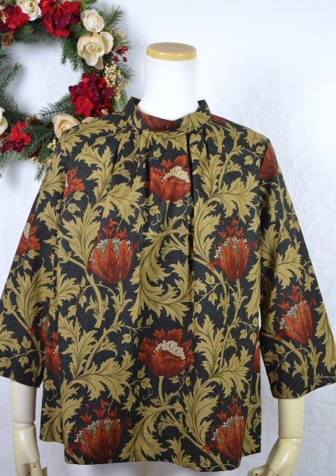新しく七分袖が登場! ウィリアム・モリス William Morris スタンド衿七分袖ブラウスANEMONE・アネモネ(DAMASK BLACK)