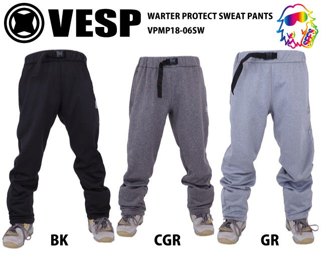 18-19 VESP【ベスプ】 WARTER PROTECT SWEAT PANTS VPMP18-06SW スノーボードウェア
