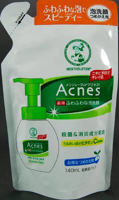 ロート製薬 Acnes 薬用ふわふわ泡洗顔 詰替 140ml×24個  【送料無料】