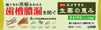 ライオン ハイテクト生薬の恵 さわやかハーブ香味 90g ×120個【送料無料】【オーラル】【歯磨き】【歯ブラシ】