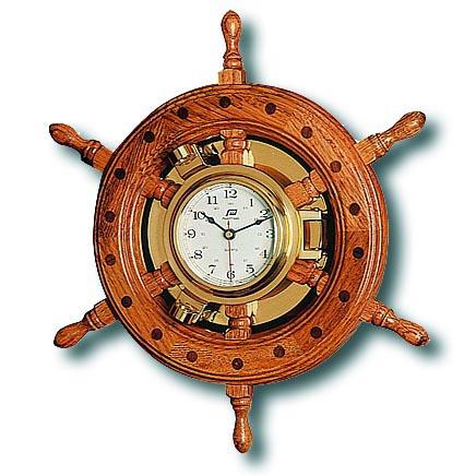 プラスチモ(PLASTIMO)クロック・時計 268C 木製 オーク 舵輪 商品番号:7834 【マリーン・ボート・船舶・マリンクロック】