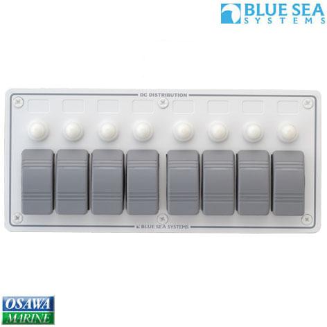 ブルーシー(BLUE SEA) 防水サーキットブレーカーパネル 横型8連 商品番号:23875 【ユニマットマリン・大沢マリン・ボート用品・船舶】