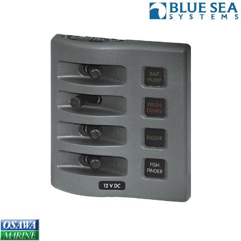 ブルーシー(BLUE SEA) 防水フューズ付きパネル4連 商品番号:24691 【ユニマットマリン・大沢マリン・ボート用品・船舶】