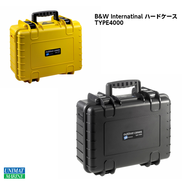 B&W Internatinal ハードケース TYPE4000 ブラック 黒 イエロー 黄色 防水 頑丈