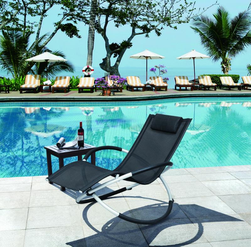 ▲折り畳みできるリング型 ロッキングチェア ブラック 商品番号:ring-chair 【ユニマットマリン・大沢マリン・ボート用品・船舶】
