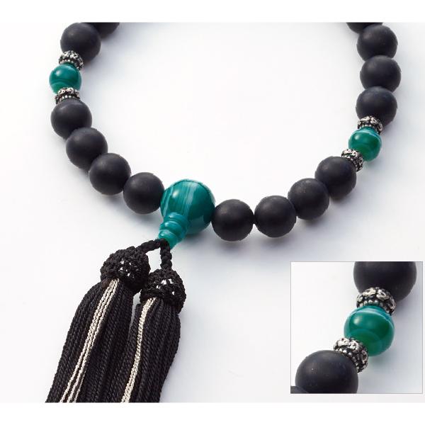 数珠 CHIC オニキス艶消 緑縞瑪瑙仕立