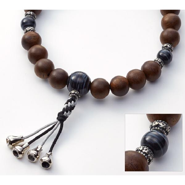 数珠 CHIC ブラックウォールナット 黒縞瑪瑙仕立