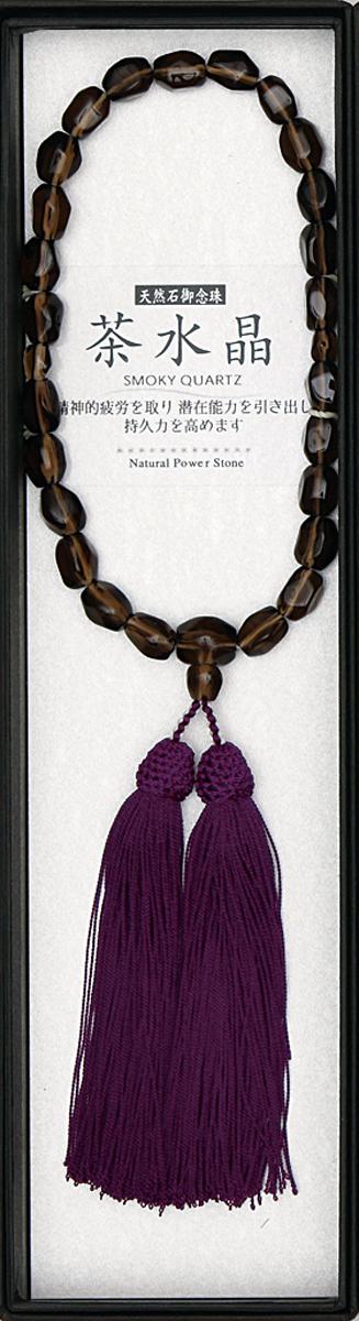 数珠 石ラフカット茶水晶共仕立 縋り房古代紫