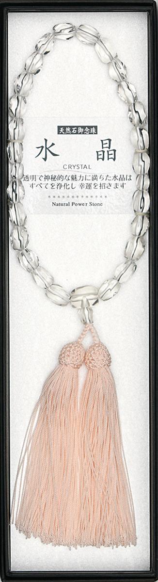 数珠 石ラフカット水晶共仕立 縋り房ピンク