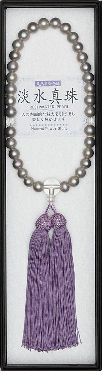 数珠 淡水パールグレー水晶仕立 縋り房藤