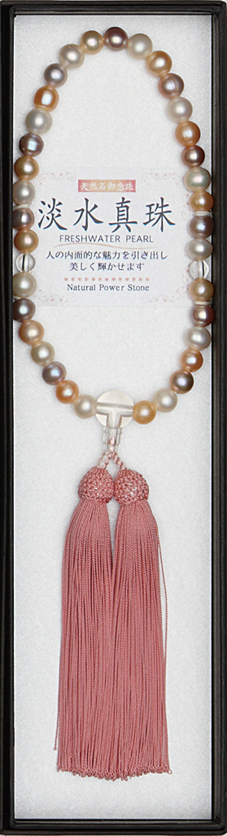 数珠 淡水パールミックス水晶仕立 縋り房桜