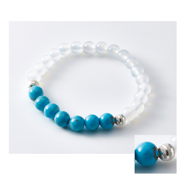 数珠ブレスレット 白瑪瑙 トルコ石