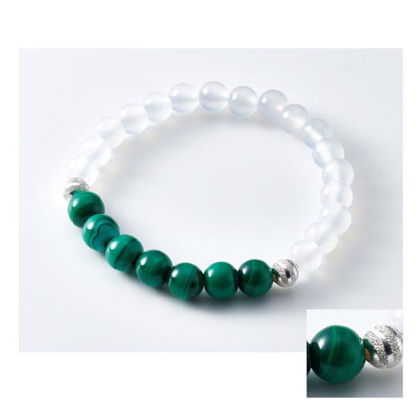 数珠ブレスレット 白瑪瑙 孔雀石