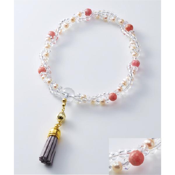 数珠 シャイニー ダブルブルー水晶 水晶 房白