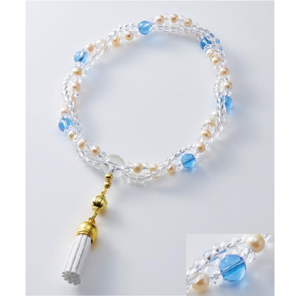 数珠 シャイニー ダブル縞瑪瑙 水晶/紫雲石 房ベージュ