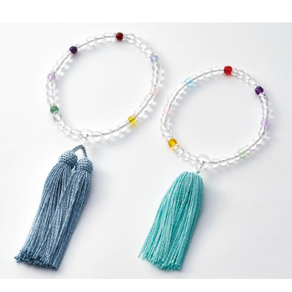 数珠 親子念珠 水晶 子供用Pハリ 厄除七色