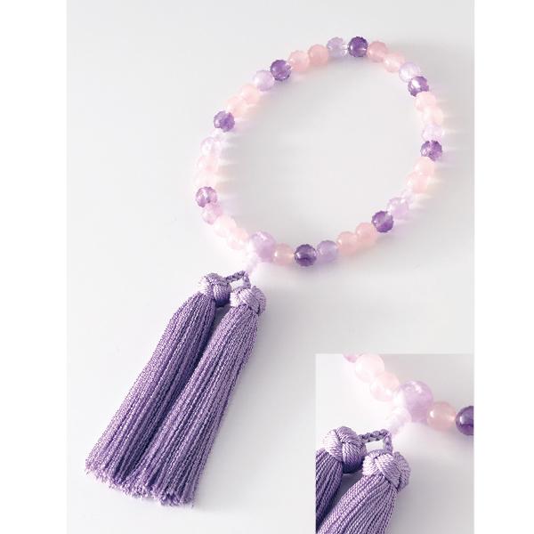 数珠 マーブル ラベンダー 藤雲石仕立 花かがり房 藤