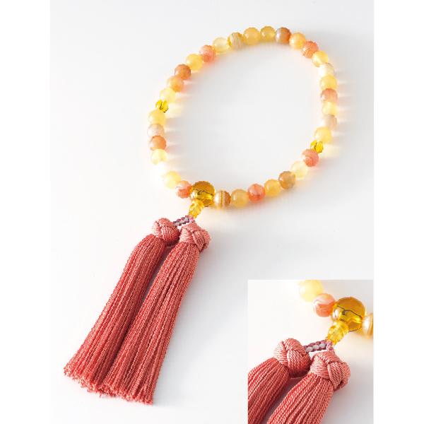 数珠 マーブル イエロー 黄水晶仕立 花かがり房 黄丹