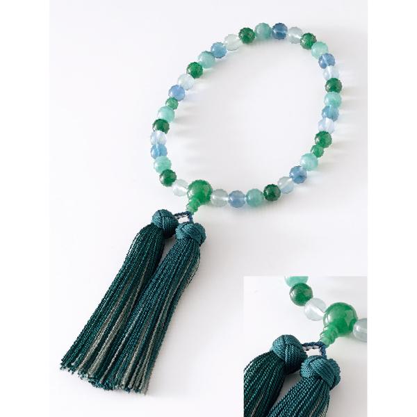 数珠 マーブル グリーン 翡翠仕立 花かがり房 濃緑・老竹